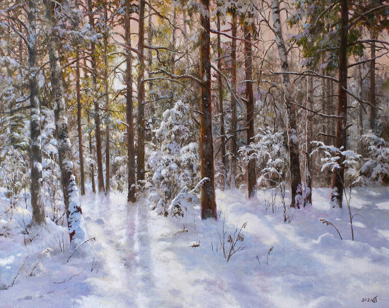Зимнее утро в лесу - холст/масло, 40х50, 2021