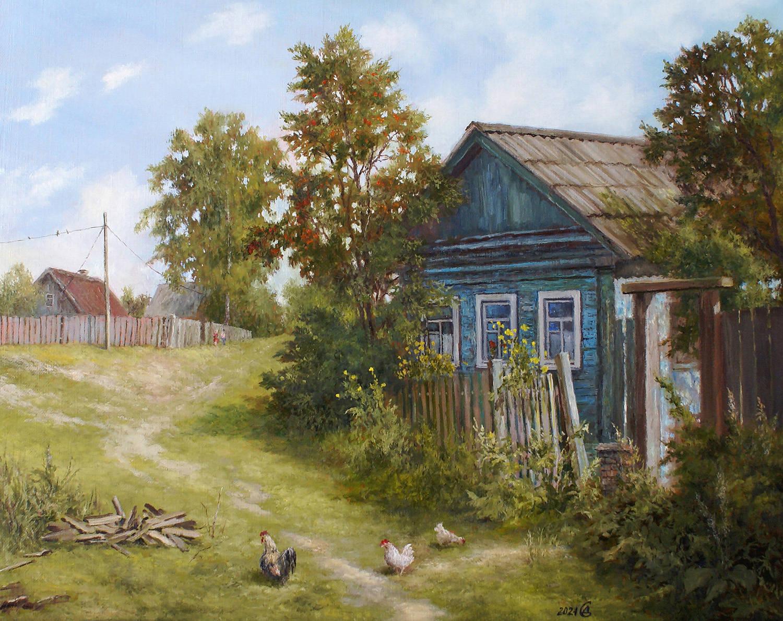 Домик в деревне - холст/масло, 40х50, 2021