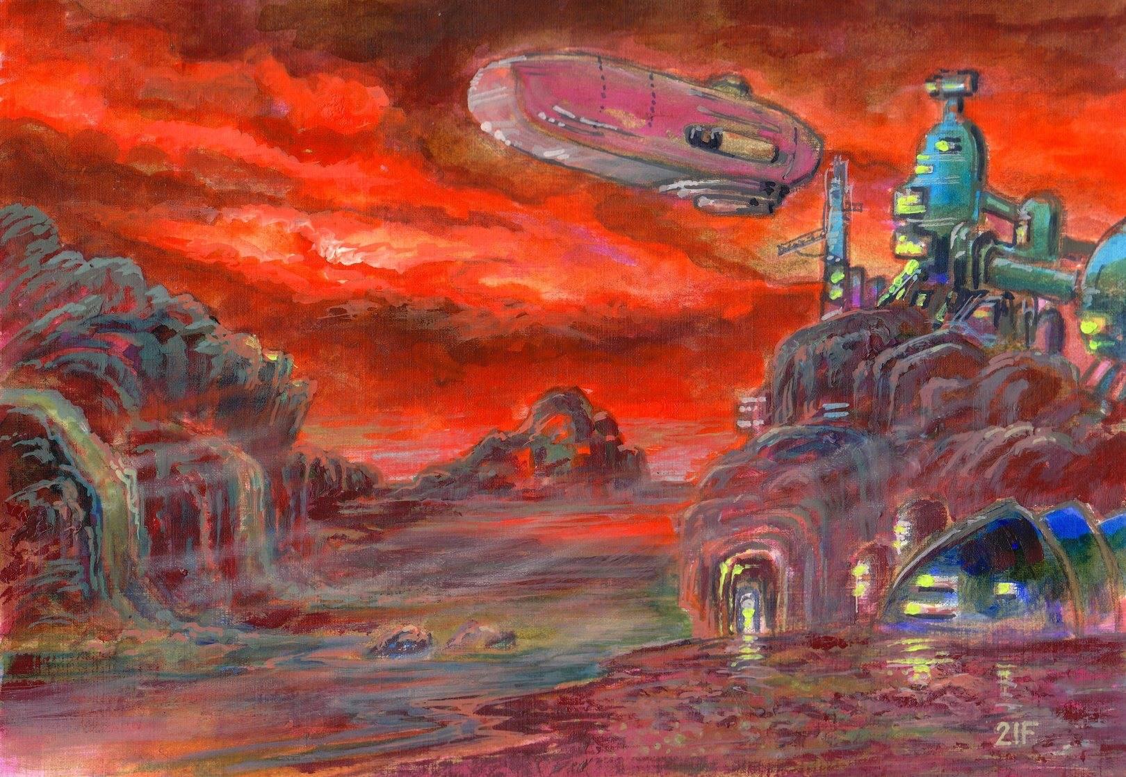 База на Титане.Вечер.