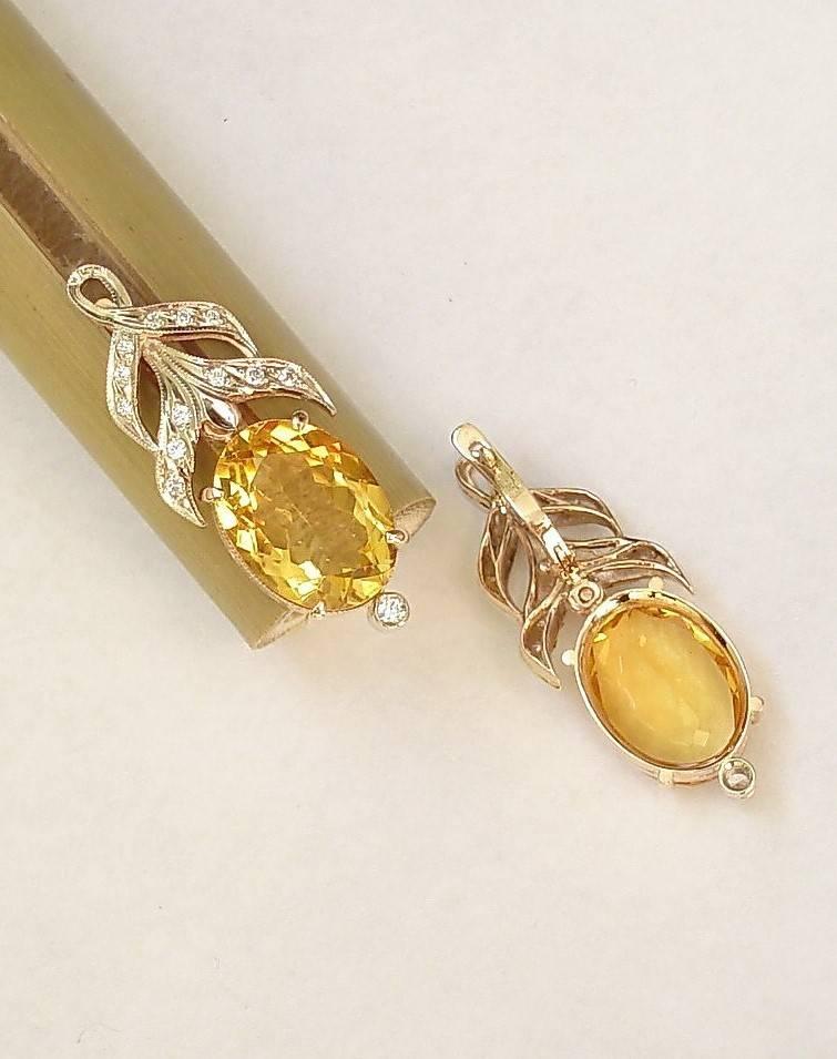 Серьги из золота (585) с брильянтами и цитрином (2 штуки). Manual jewerly 100%.