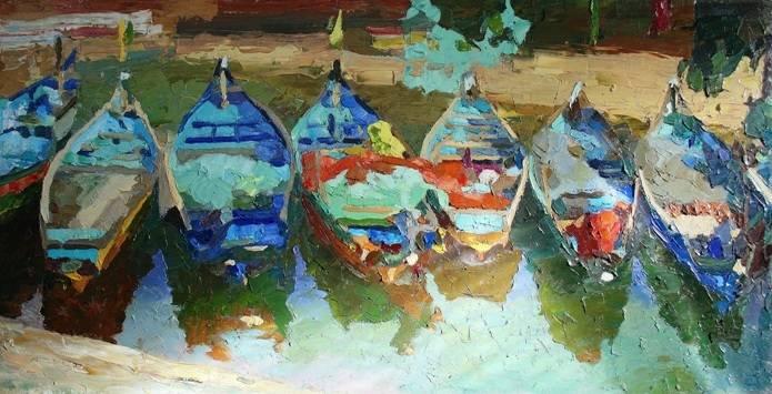 «Лодки в Гоа» холст, масло, 50х100 см, 2021