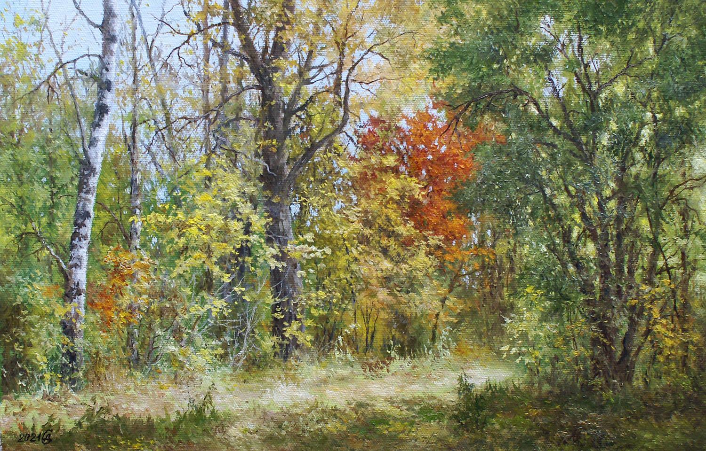 Осенний лес - холст/масло, 26х40, 2021