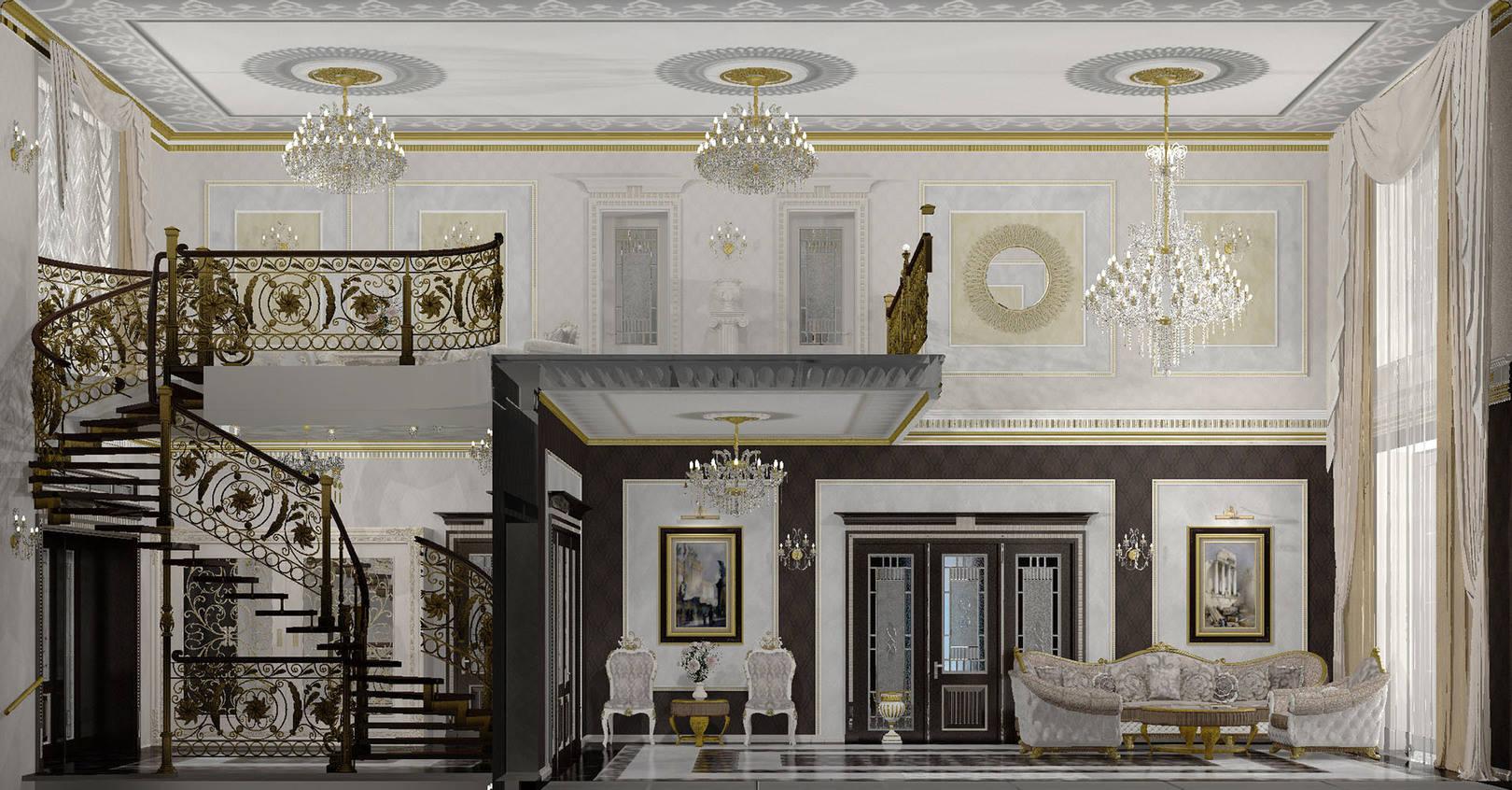 Гостиная, холл 2-го этажа и парадная с лестницей