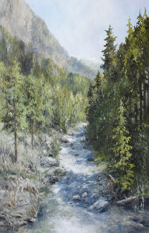 Река Теберда - холст/масло, 40х26, 2021