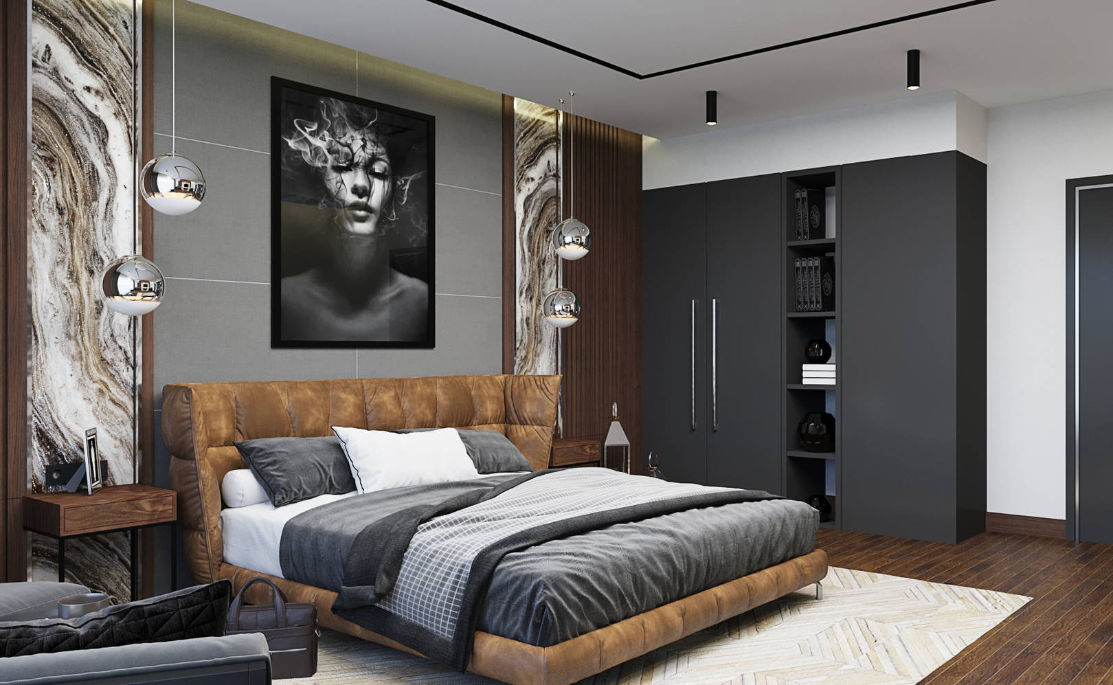 Master bedroom Grey and Brown