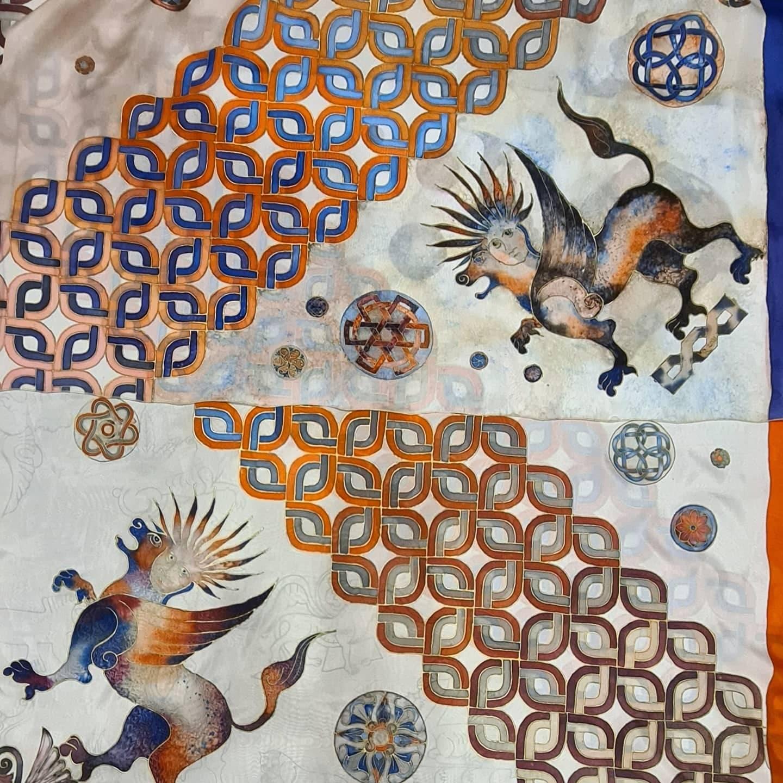 Hand painted silk scarfs