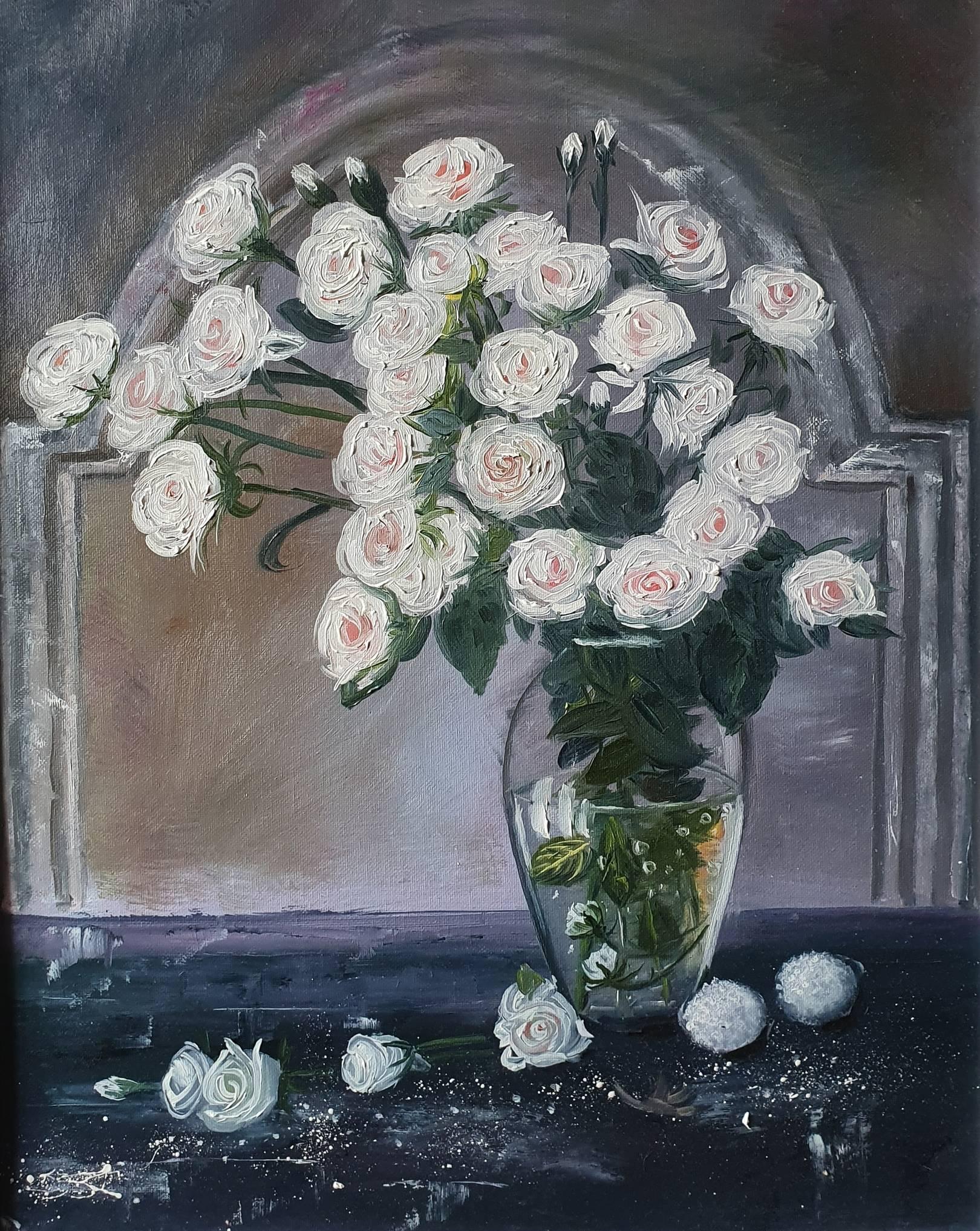 Белые розы.  Холст, масло, 40х50, 2020.