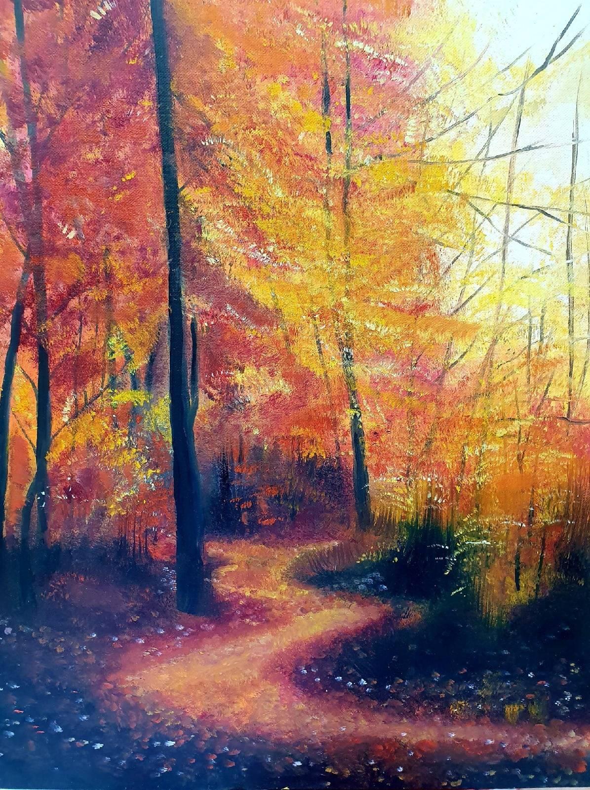Осенний лес красив и печален.  Холст, масло, 40х50, 2020.