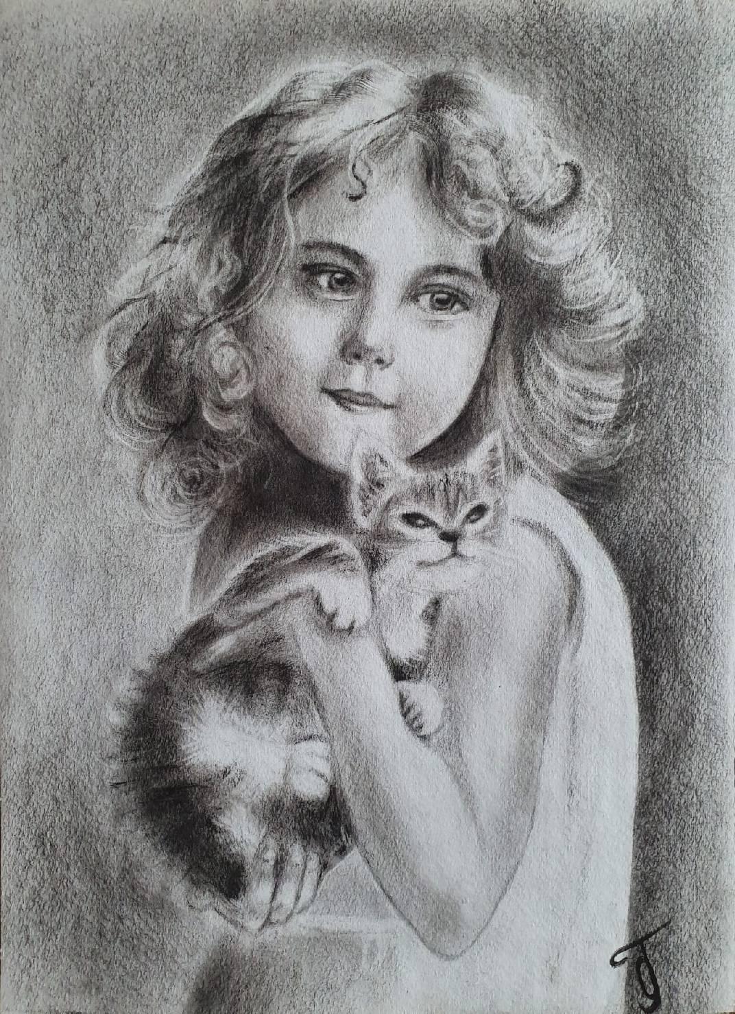 Винтажный портрет девочки с котенком. Сухая кисть. 30х40, 2020.