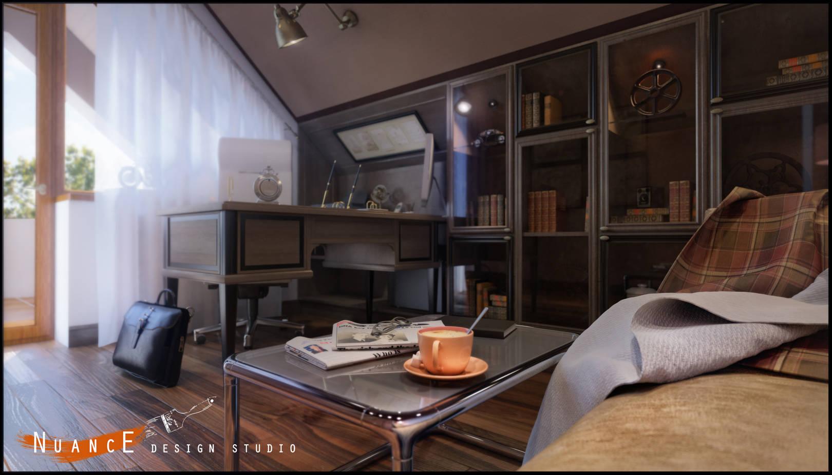 Дизайн  кабинета и спальни в частном доме