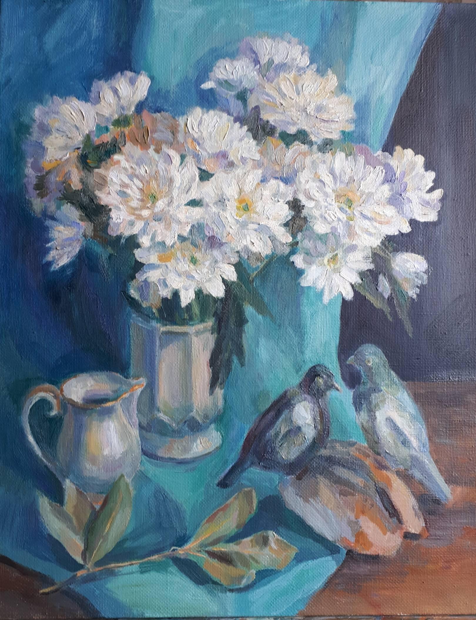 Цветы и голуби