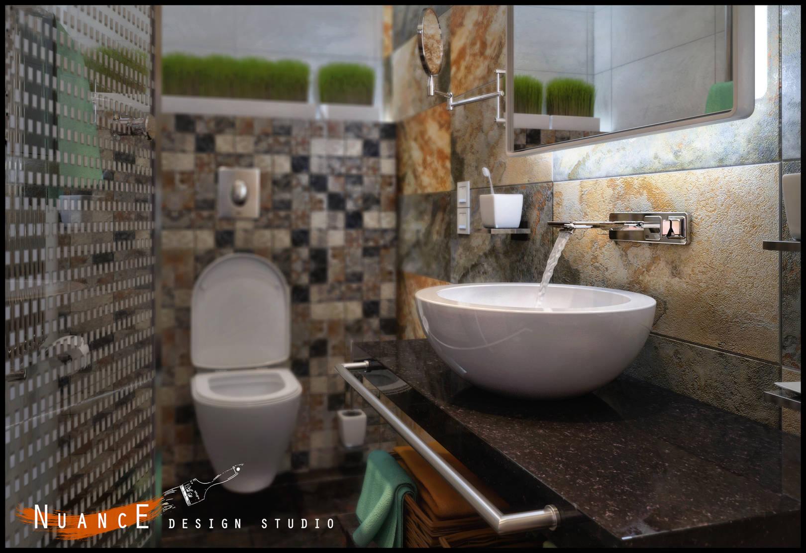 Дизайн душевой и  ванной комнаты в частном доме