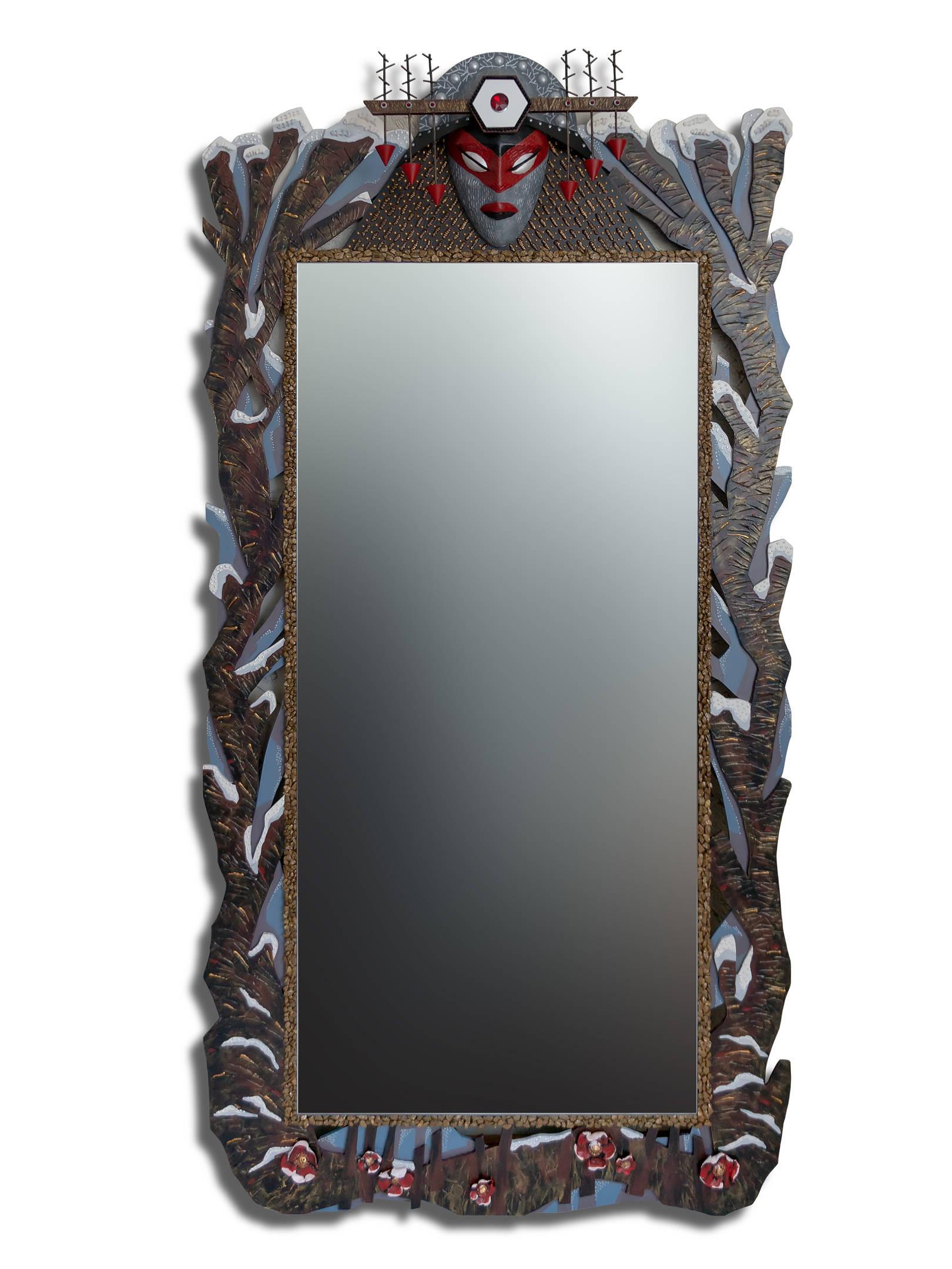 "зеркало « Первый снег » размер 1800 х 900 мм. размер зеркальной поверхности  1300 х 610 мм. Смешанная техника. mirror ""First Snow""  size 1800 x 900 mm. the size of the mirror surface is 1300 x 610 mm. Mixed media."