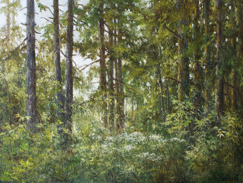 Солнце в лесу - холст на картоне/масло, 30х40, 2021