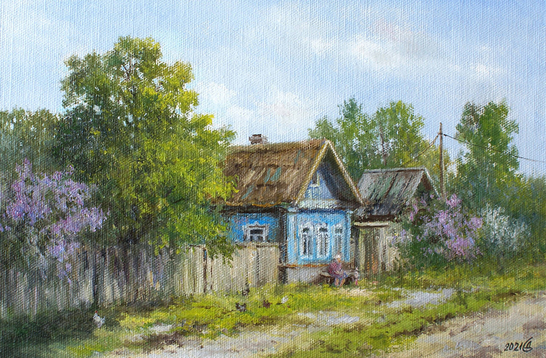 Весна в деревне - холст на картоне/масло, 20х30, 2021