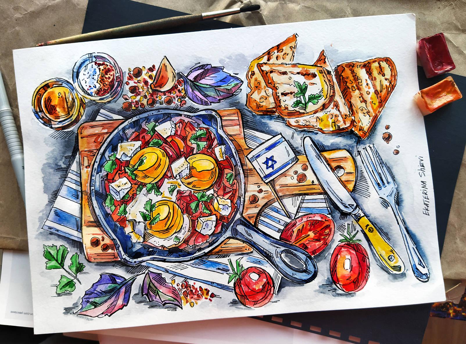 Еда разных стран, иллюстрации
