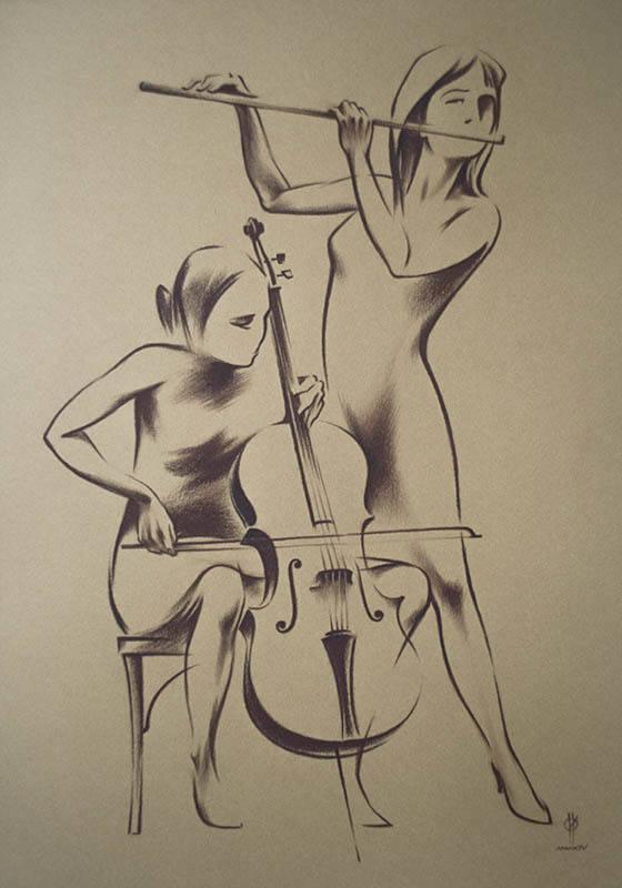 """JAZZ-7""  paper,sepia  49x34  2014"