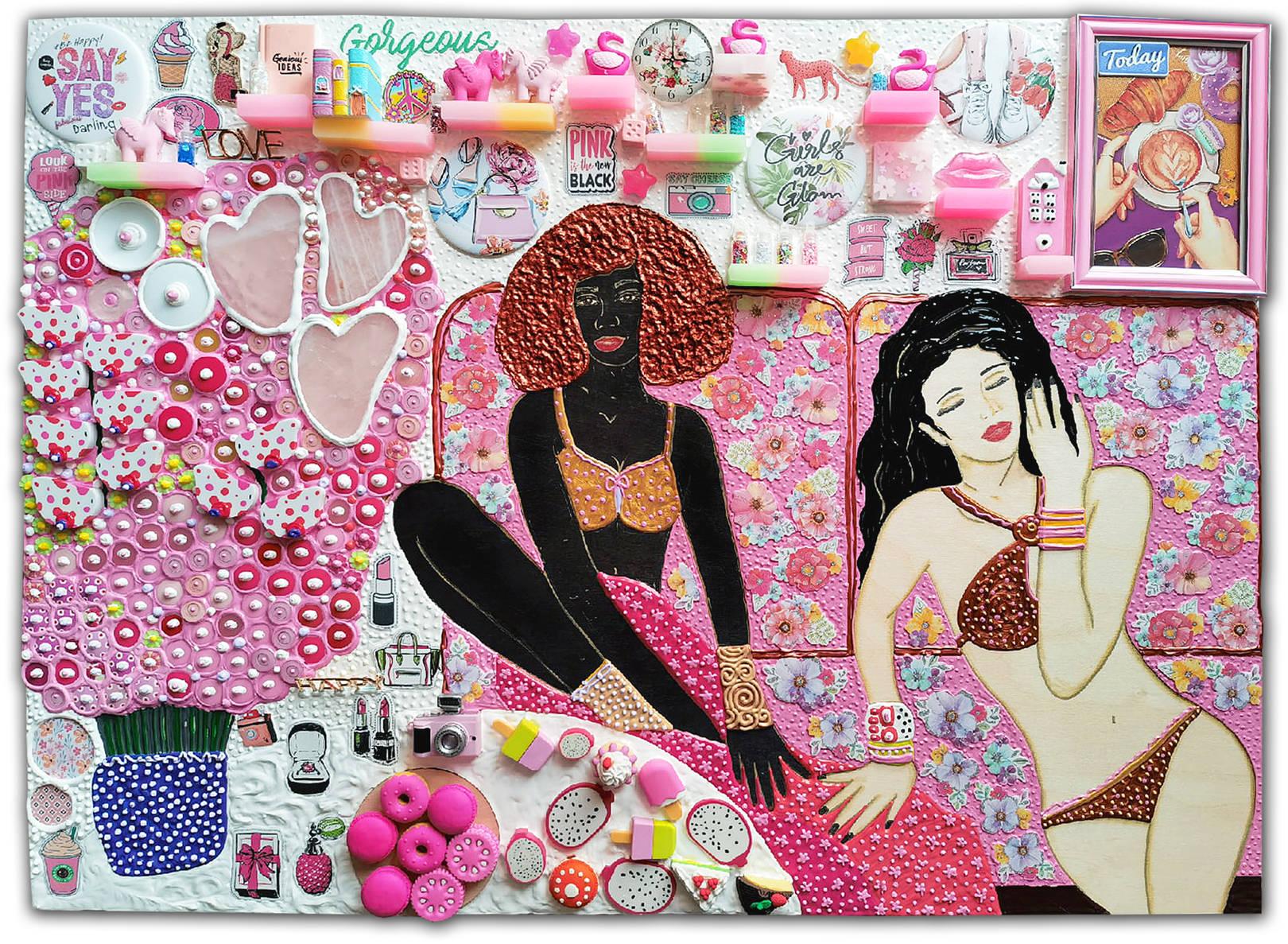 Акрил, деревянная панель, розовый кварц, декоративные элементы, стекло, пластик, металл, бумага, резина, дерево, маркеры