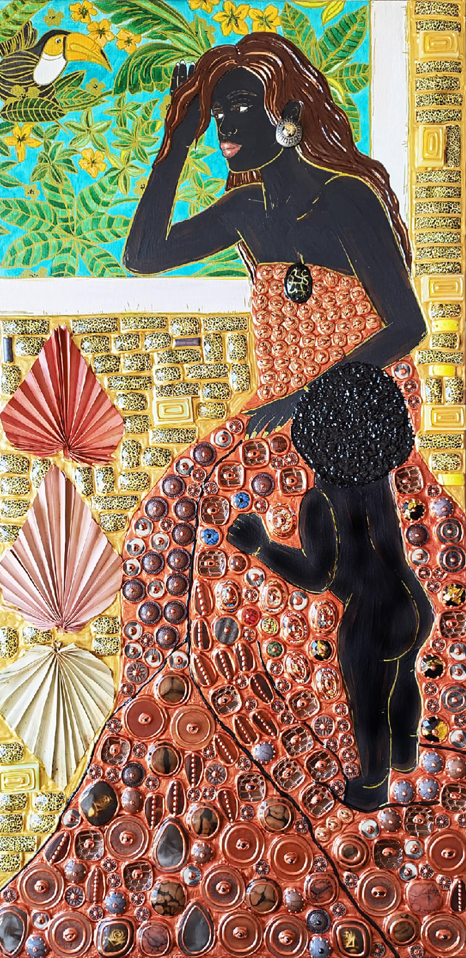 Акрил, холст, акриловая, деревянная стеклянная мозаика, декоративные элементы, натуральные сухие пальмовые листья