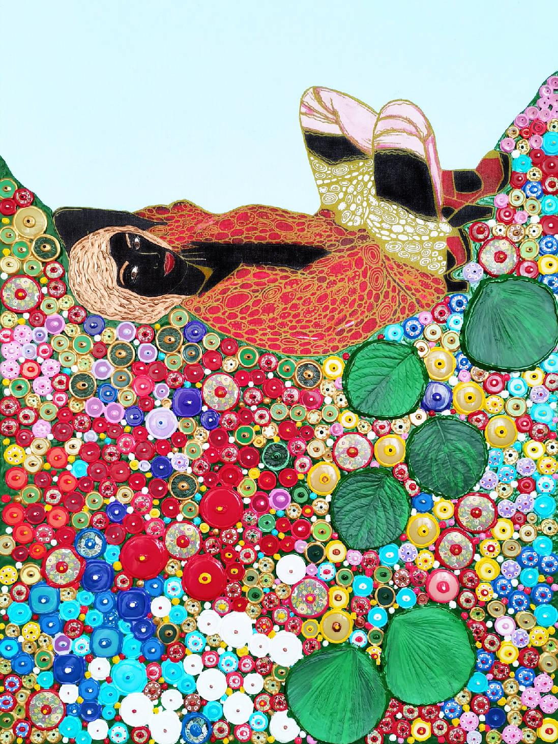 Акрил, холст, золотой контур, декоративные элементы, акриловая и деревянная мозаика