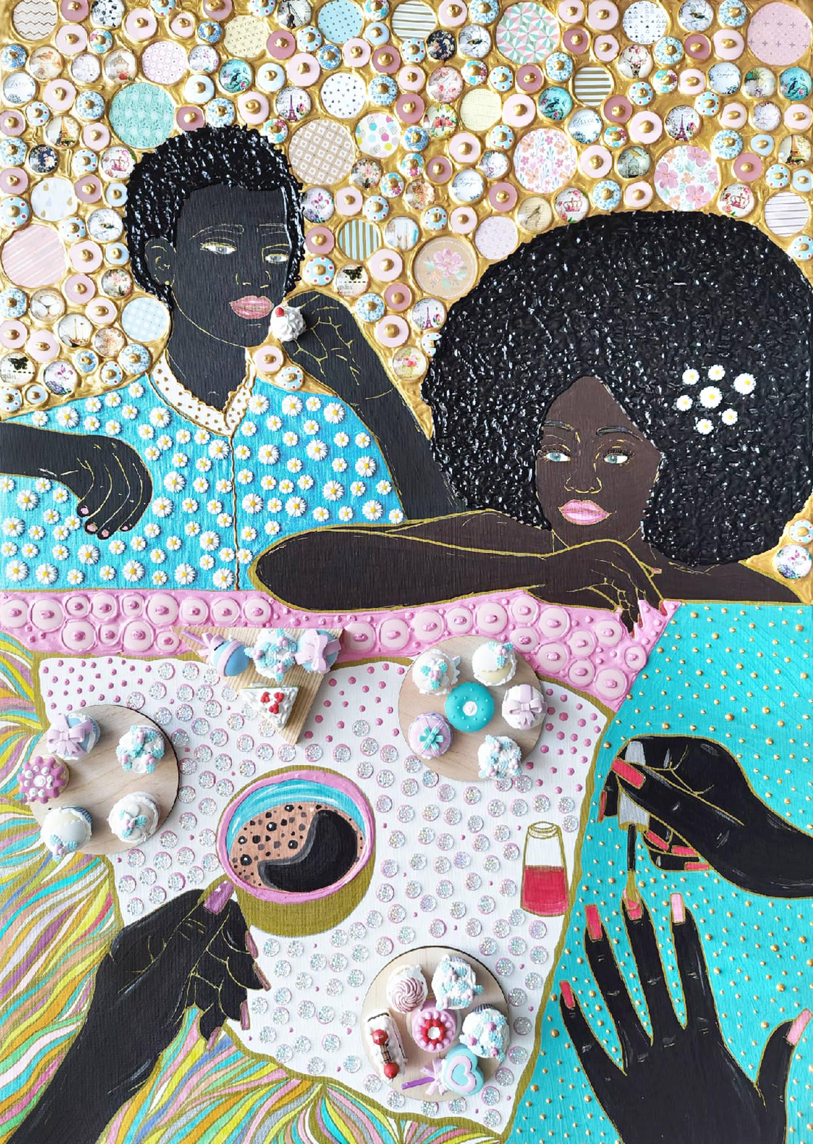 Акрил, холст, стеклянная и деревянная мозаика, декоративные элементы, бумага, стразы, маркеры