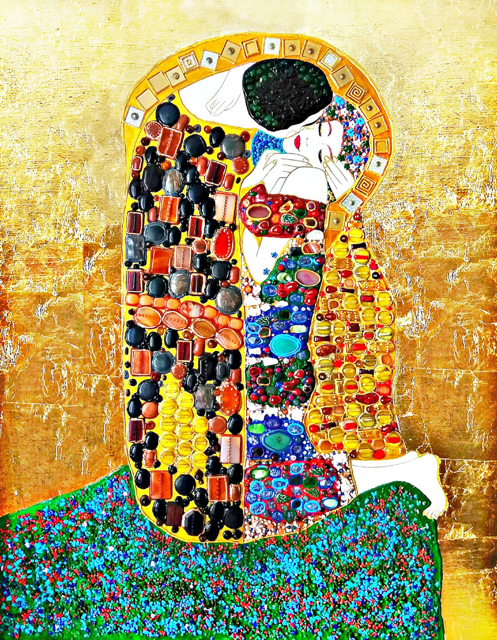 Акрил, холст, рельефные контуры, золотая поталь, Муранское стекло, золотая и зеркальная мозаика, агат, сердолик, авантюрин, бирюза, красный коралл, янтарь, малахит, яшма, розовый кварц, родонит, лунный камень, халцедон, хризолит, говлит, хрусталь, амазонит, жадеит, унакит