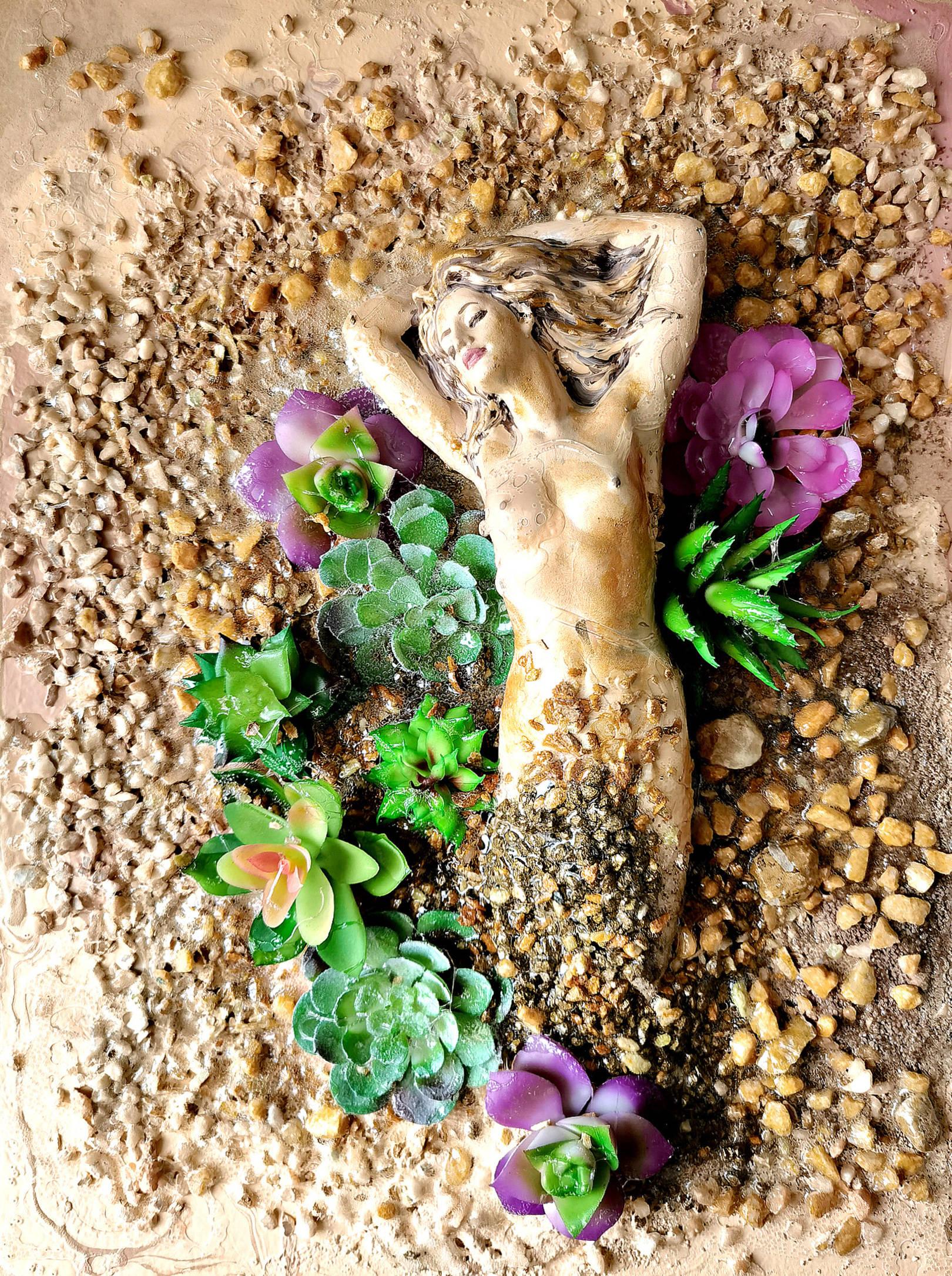 Акрил, деревянная панель, декоративные суккуленты, песок, камни, гель с эффектом воды, гипс