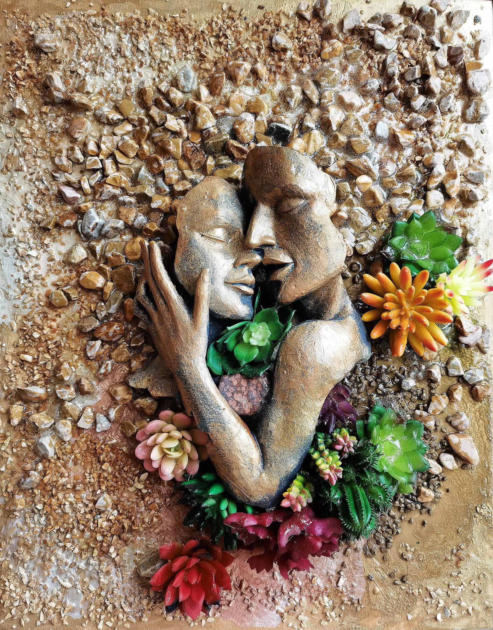 Акрил, деревянная панель, яшма, декоративные суккуленты, песок, камни, гель с эффектом воды, полистоун
