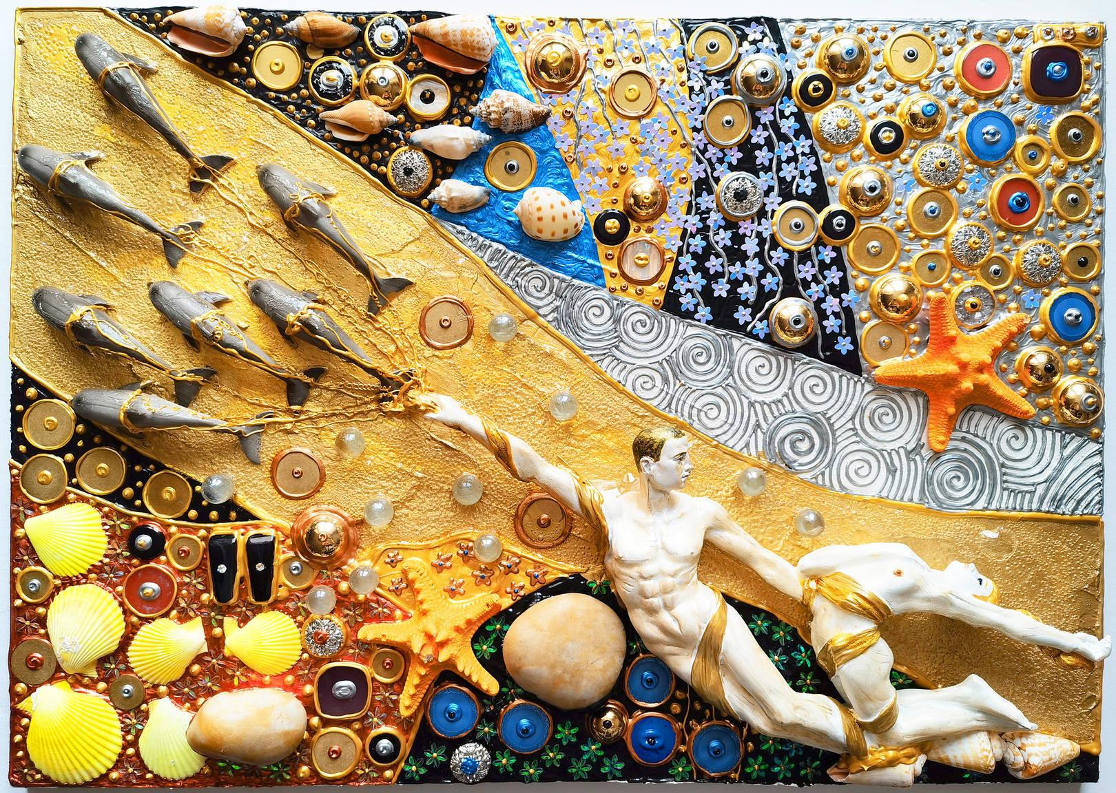Акрил, деревянная панель, декоративные элементы, гипс, металл, пластик, акриловая и деревянная мозаика, текстура