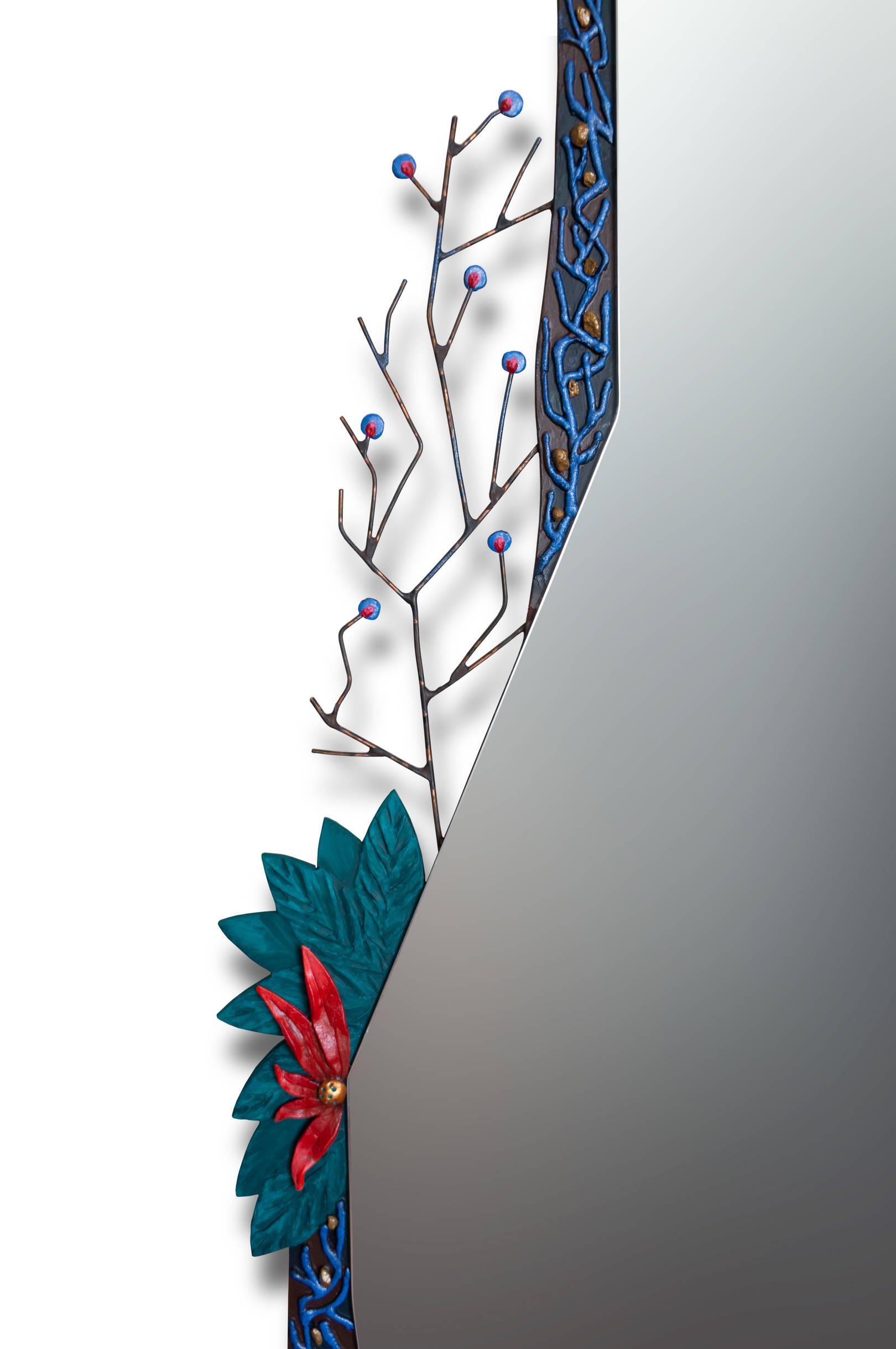 """зеркало «Цветы на камнях» Размер:  1630 х 870 мм. Смешанная техника.  mirror """"Flowers on stones"""" Size: 1630 x 870 mm. Mixed media."""