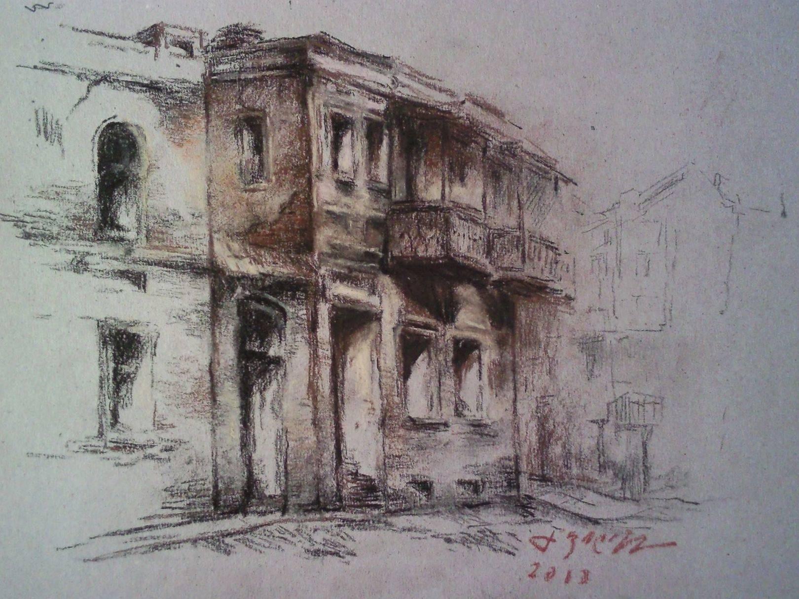 «На улице Плеханова»      бумага, пастель «On the Plekhanov street»  paper, pastel 17x23, 2013