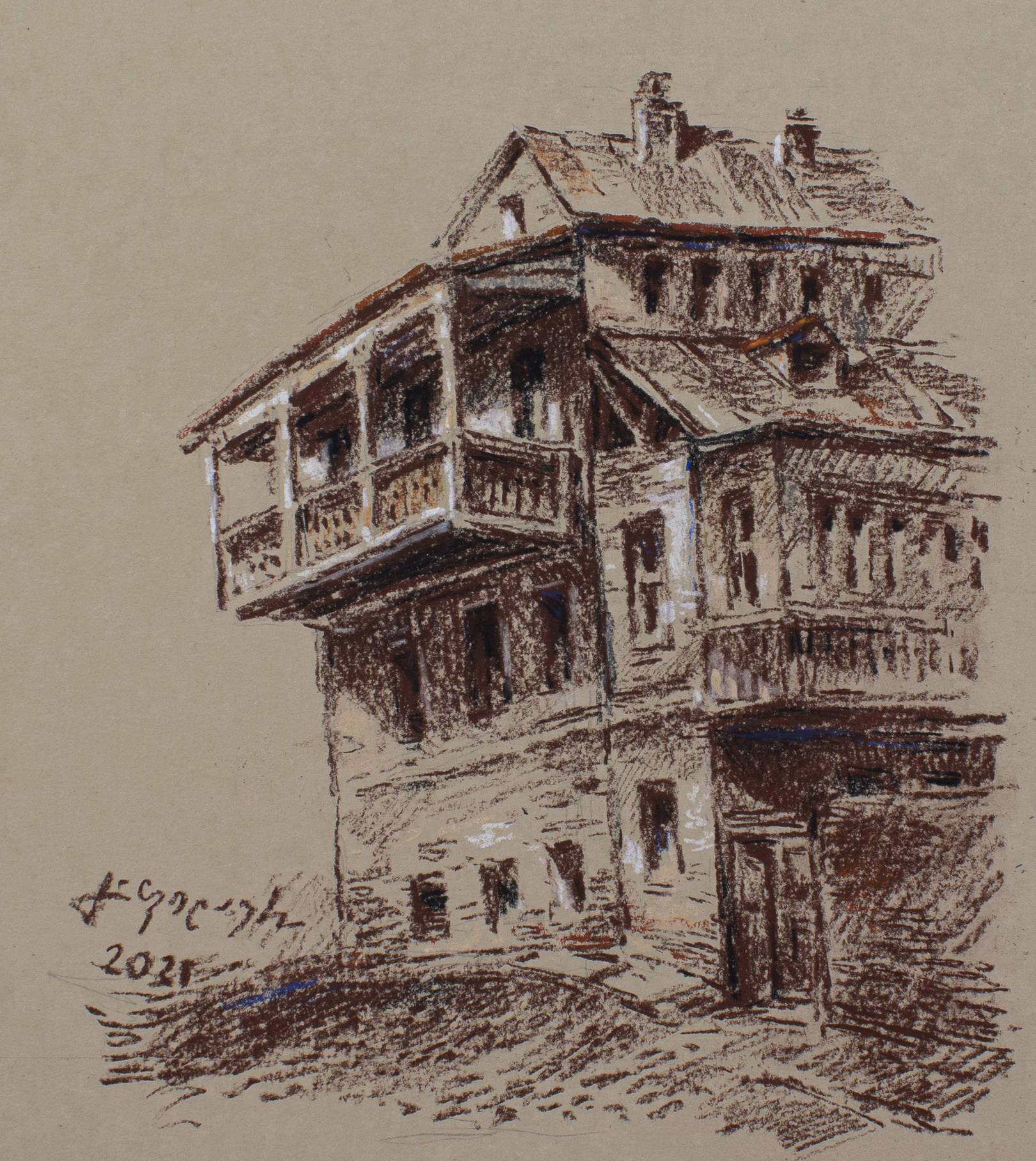 «Старый дом»           бумага, пастель «Old house»                paper, pastel 30x20, 2021