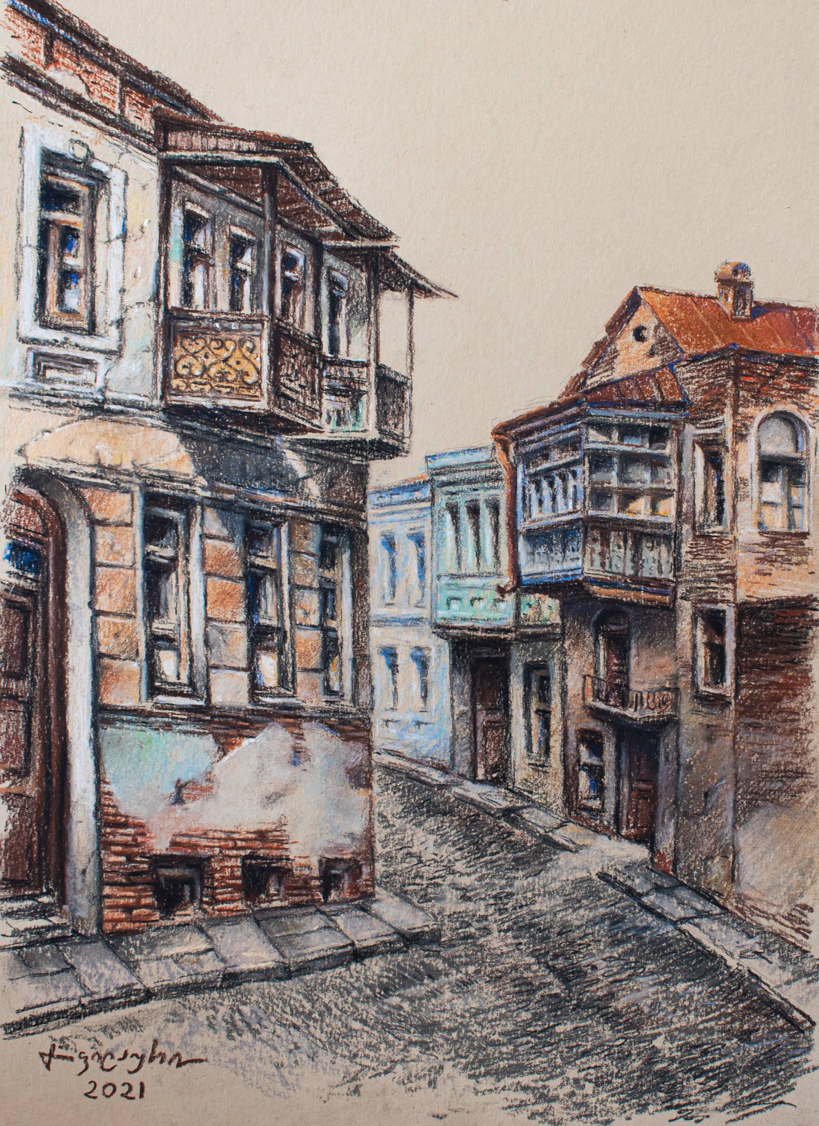 «Улочка в Старом Тбилиси»     бумага, пастель «Street in Old Tbilisi»  paper, pastel           40x30, 2021