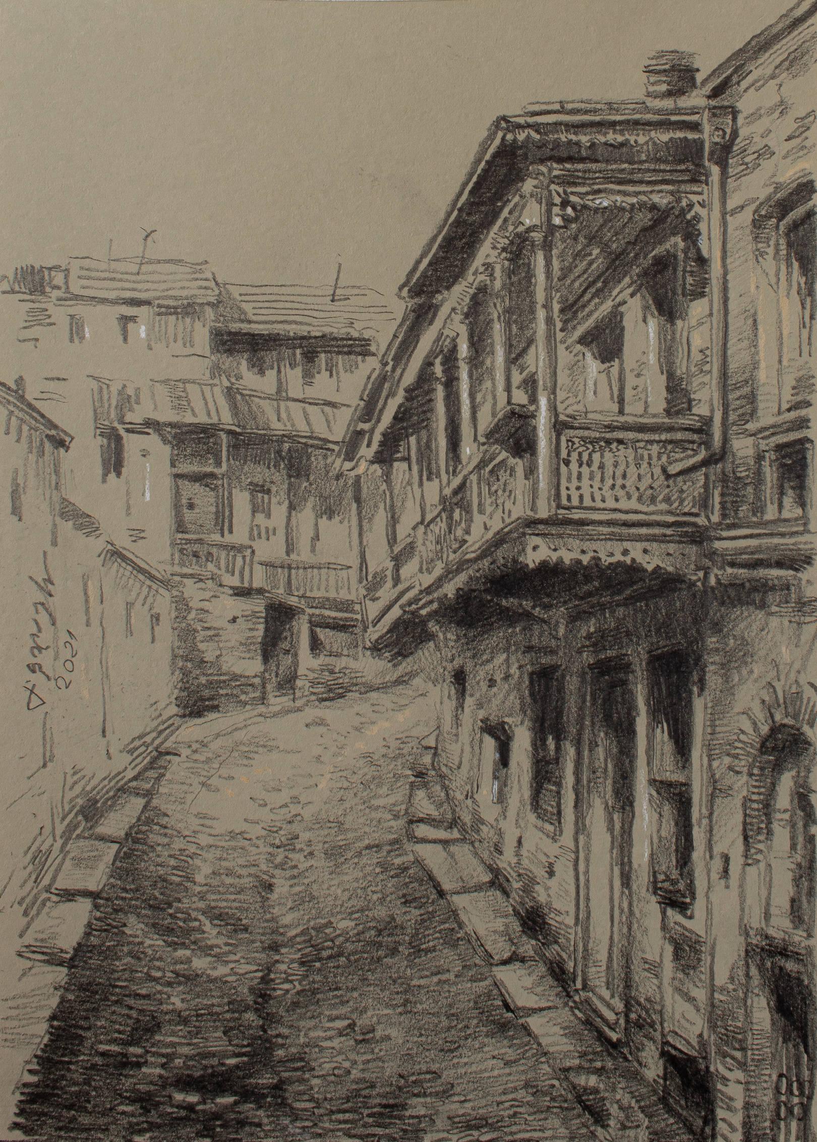 «Старый Тбилиси» бумага, карандаш «Old Tbilisi»             paper, pencil 30x20, 2021