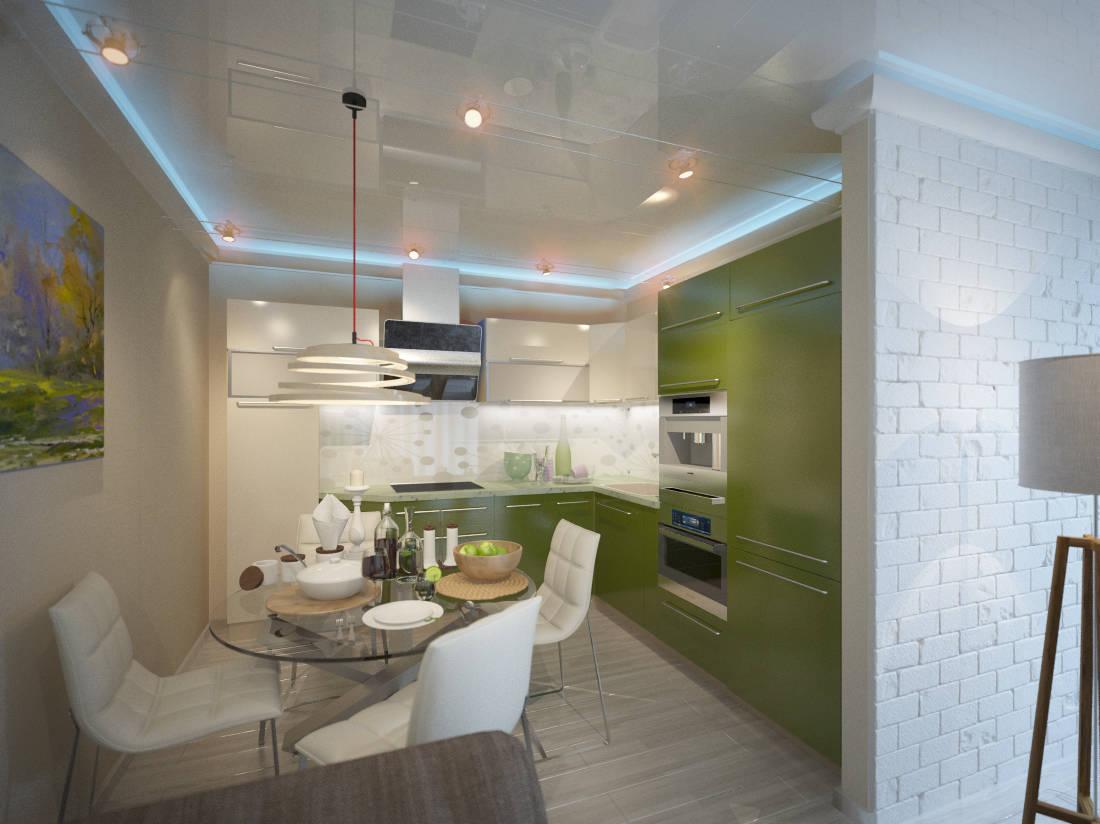гостиная-кухня, современный стиль