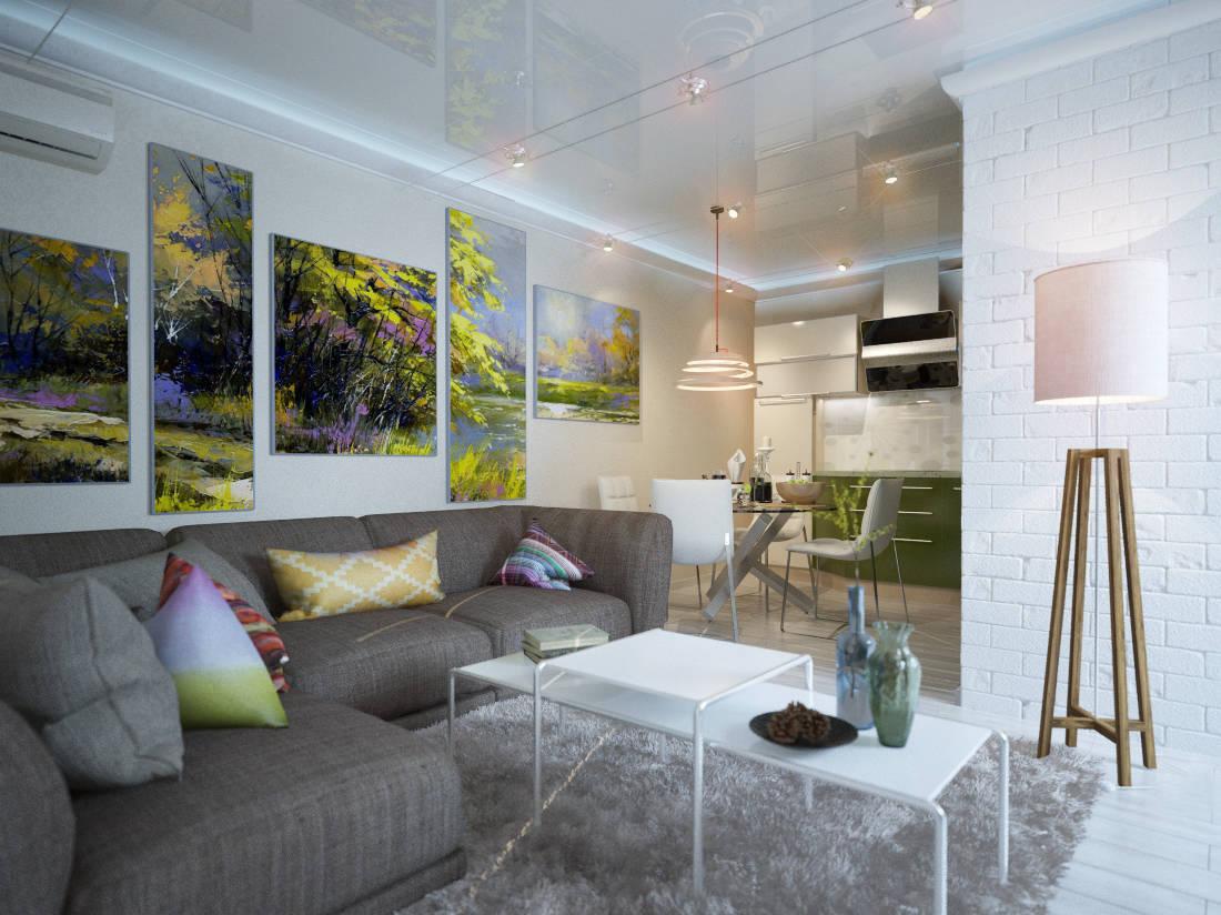 дизайн гостиной-кухни в современном стиле