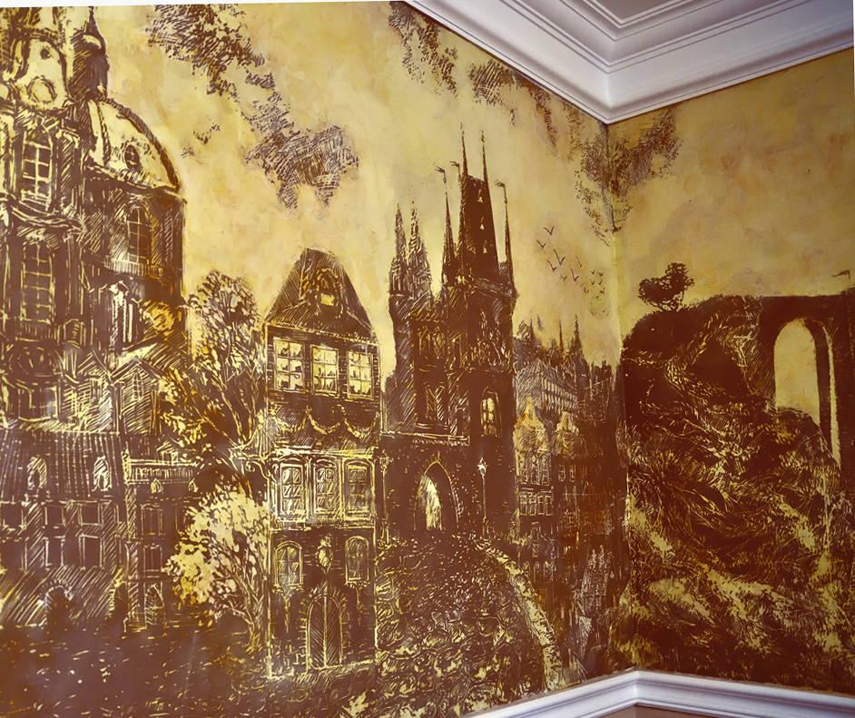 Красивые города, роспись в кабинете