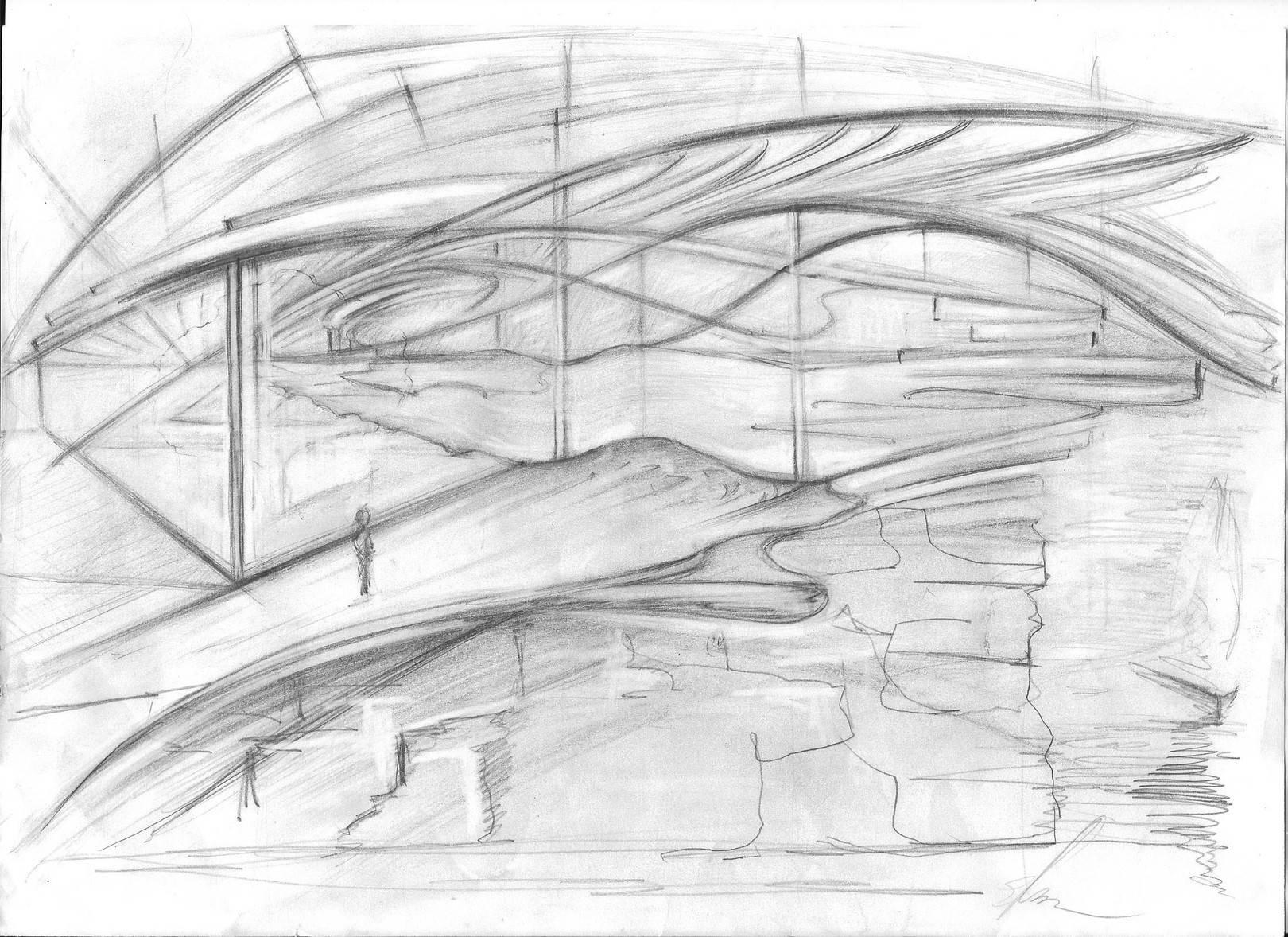 Два архитектурных наброска - фантазия на тему Santiago Calatrava.