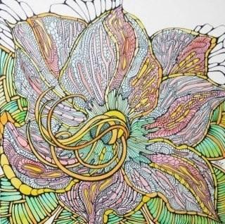 Лилия бумага, акварель, смешанная техника