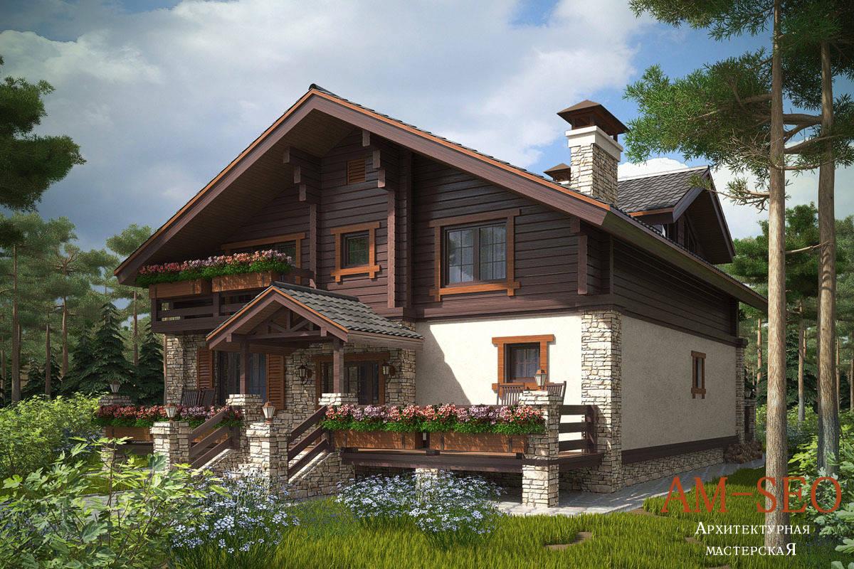 """Проект загородного дома в стиле """"Шале"""" 300кв.м"""