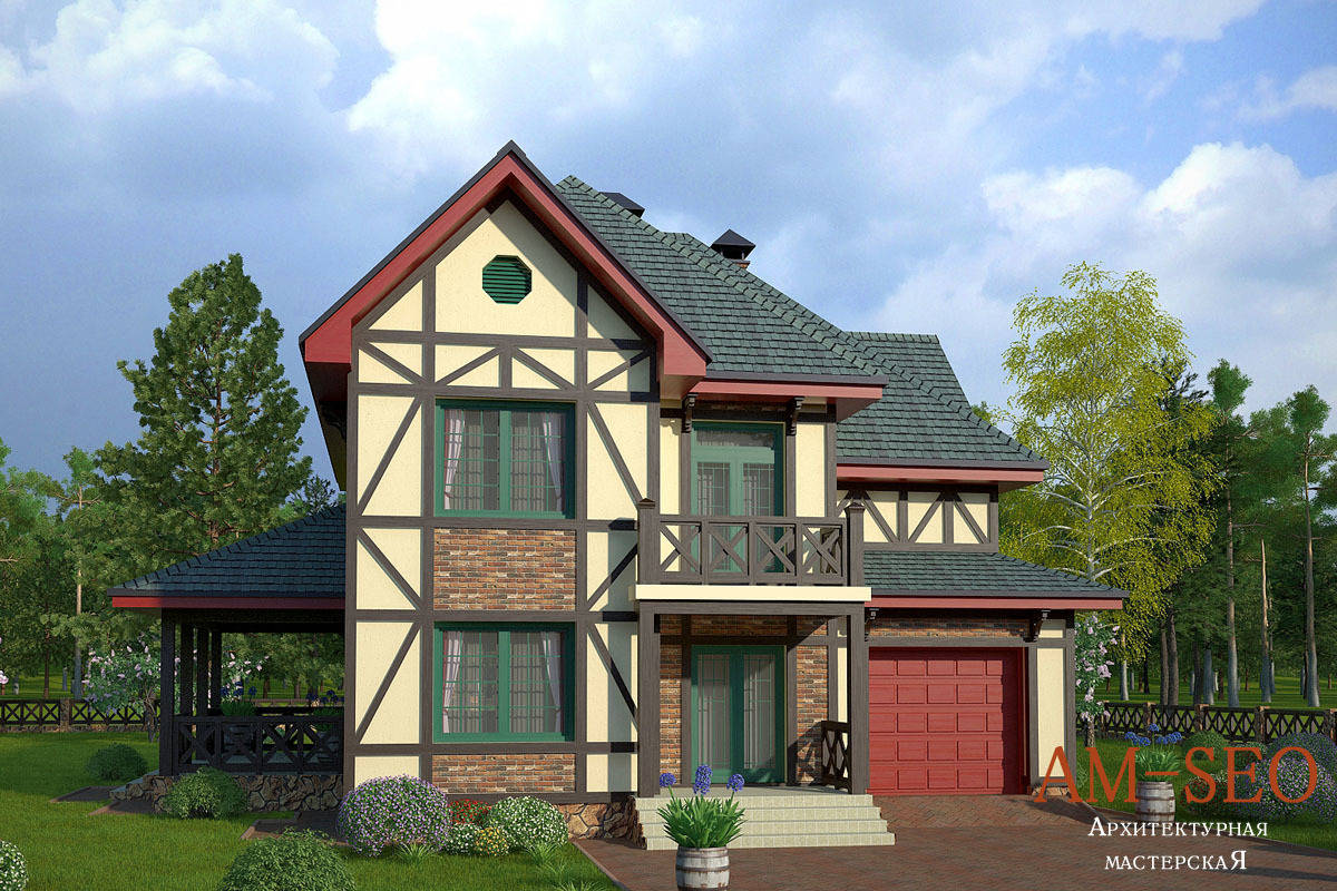 "Проект загородного дома в стиле ""Фахверк"" 200кв.м"