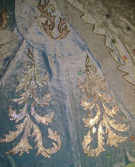 вышивка аппликация, фрагмент вышивки костюма Снегурочки