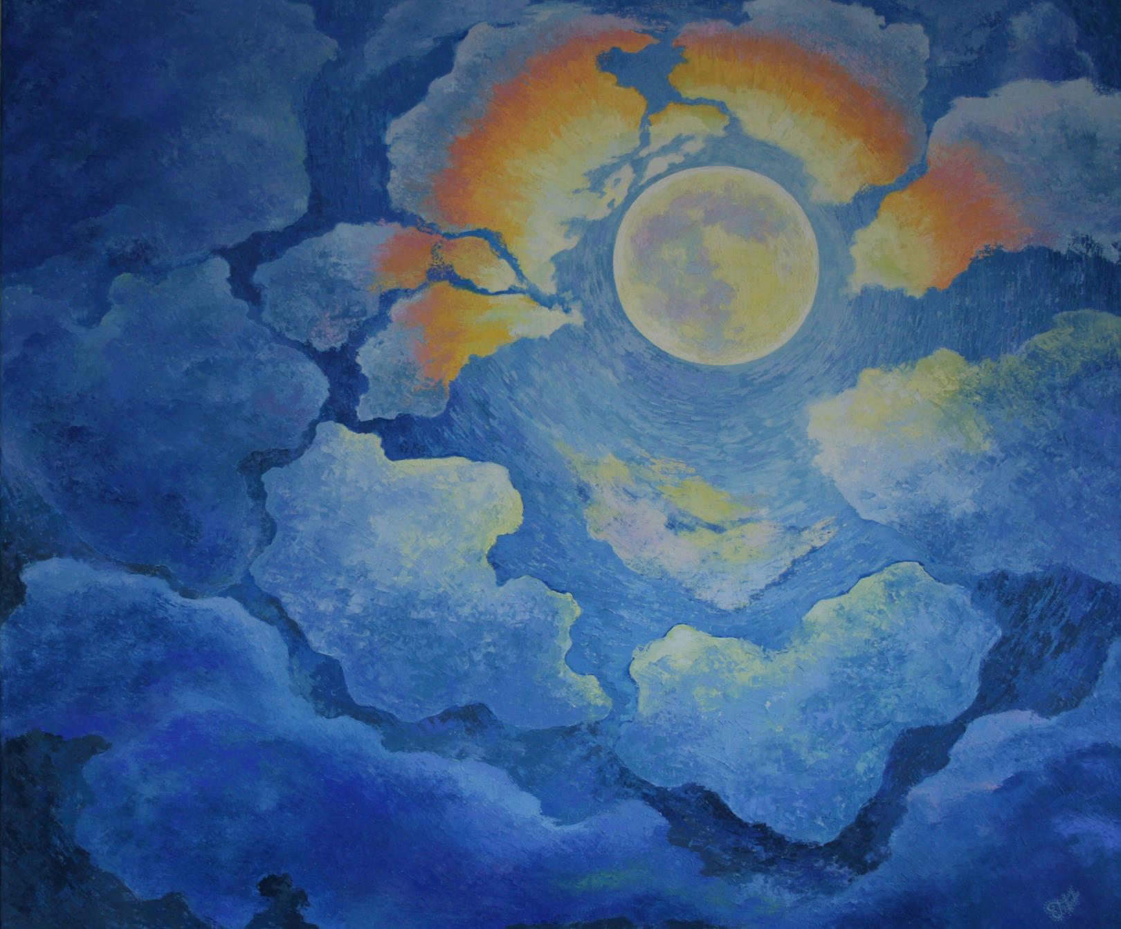 Ночь полной луны холст, масло