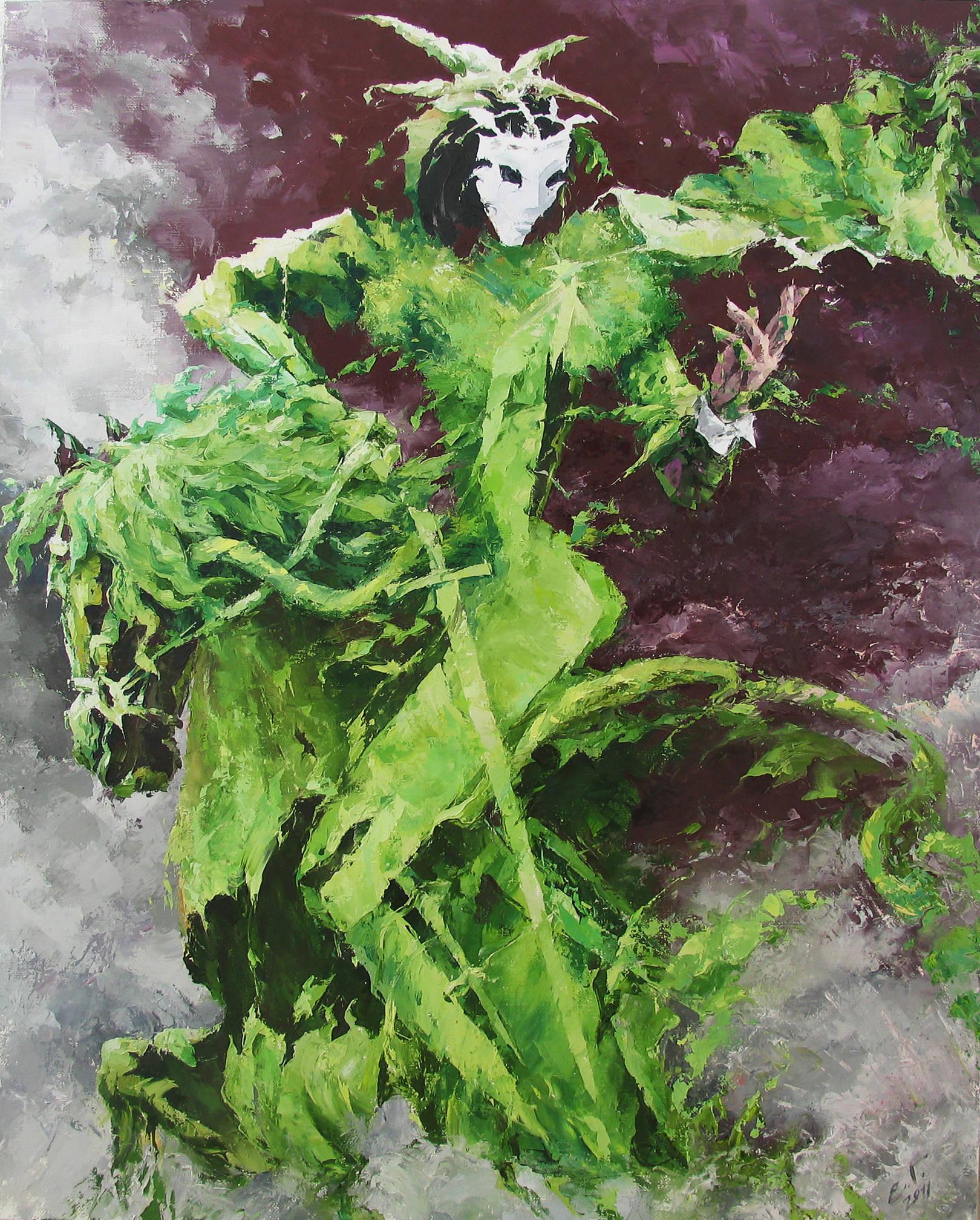 Зеленый Всадник  100х80 х,м.  2011г.