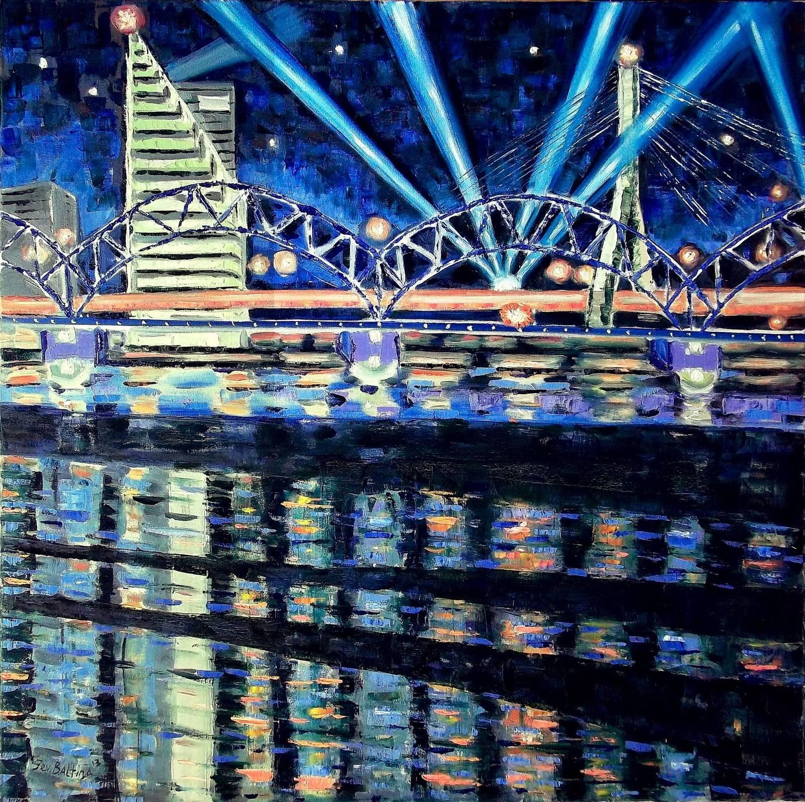 """""""Два моста"""", Пастозная живопись, мастихин (90х90 см), холст/масло, дробный мазок, 2013 г."""