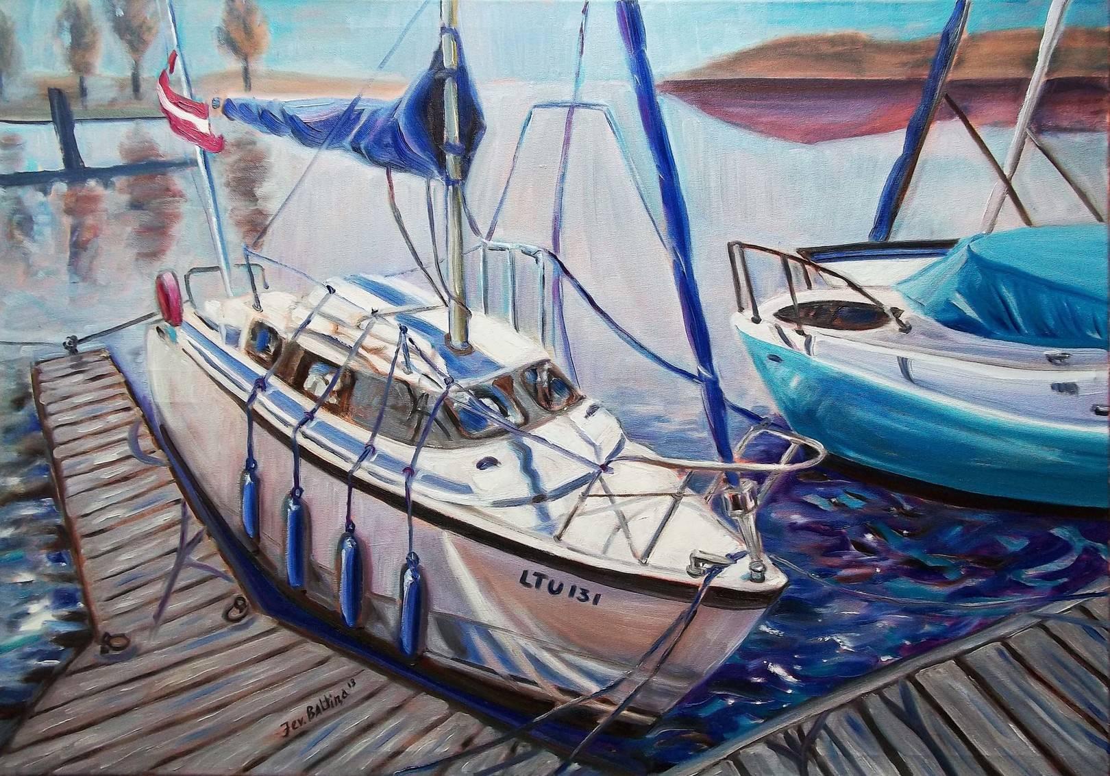 """Яхт-клуб. Сталкер"", живопись, 100х70 см, холст, масло, 2013г."