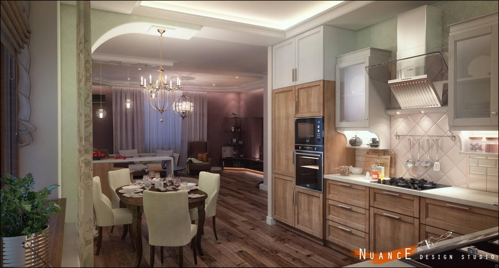 Каминная зона-Гостиная-Кухня-Столовая