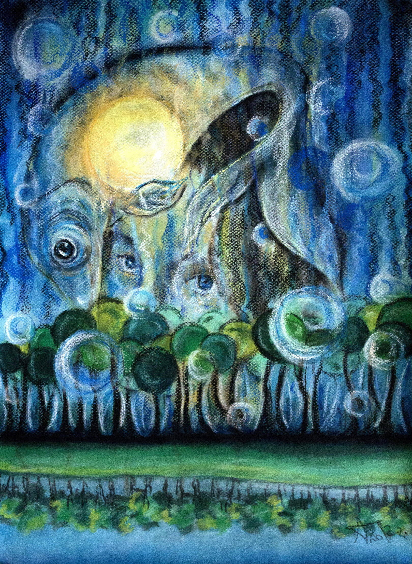 Гипноз. Бумага, пастель, 46х36, 2012