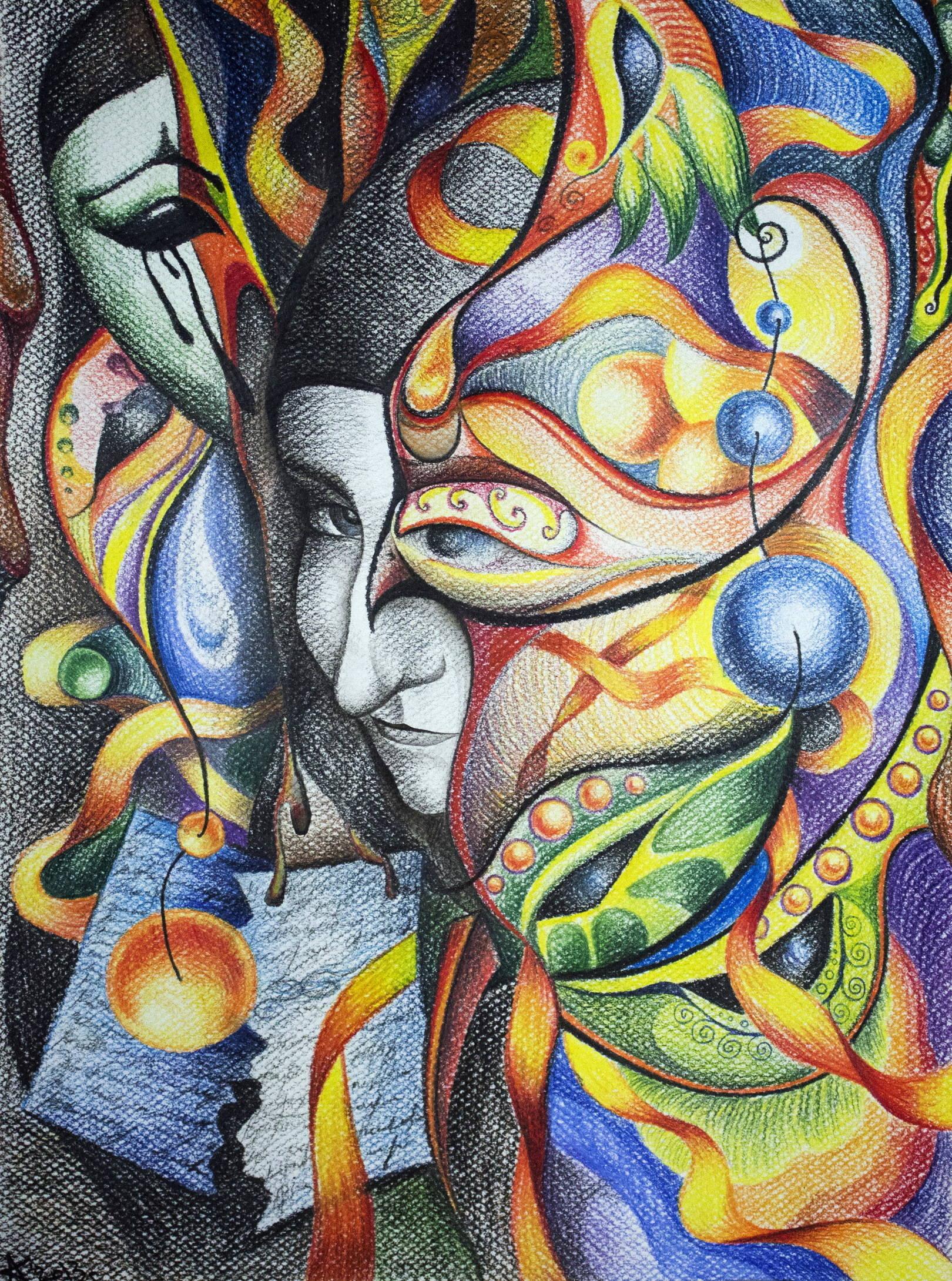 Закулисье. Пастельная бумага, цветные карандаши, 39х29, 2013