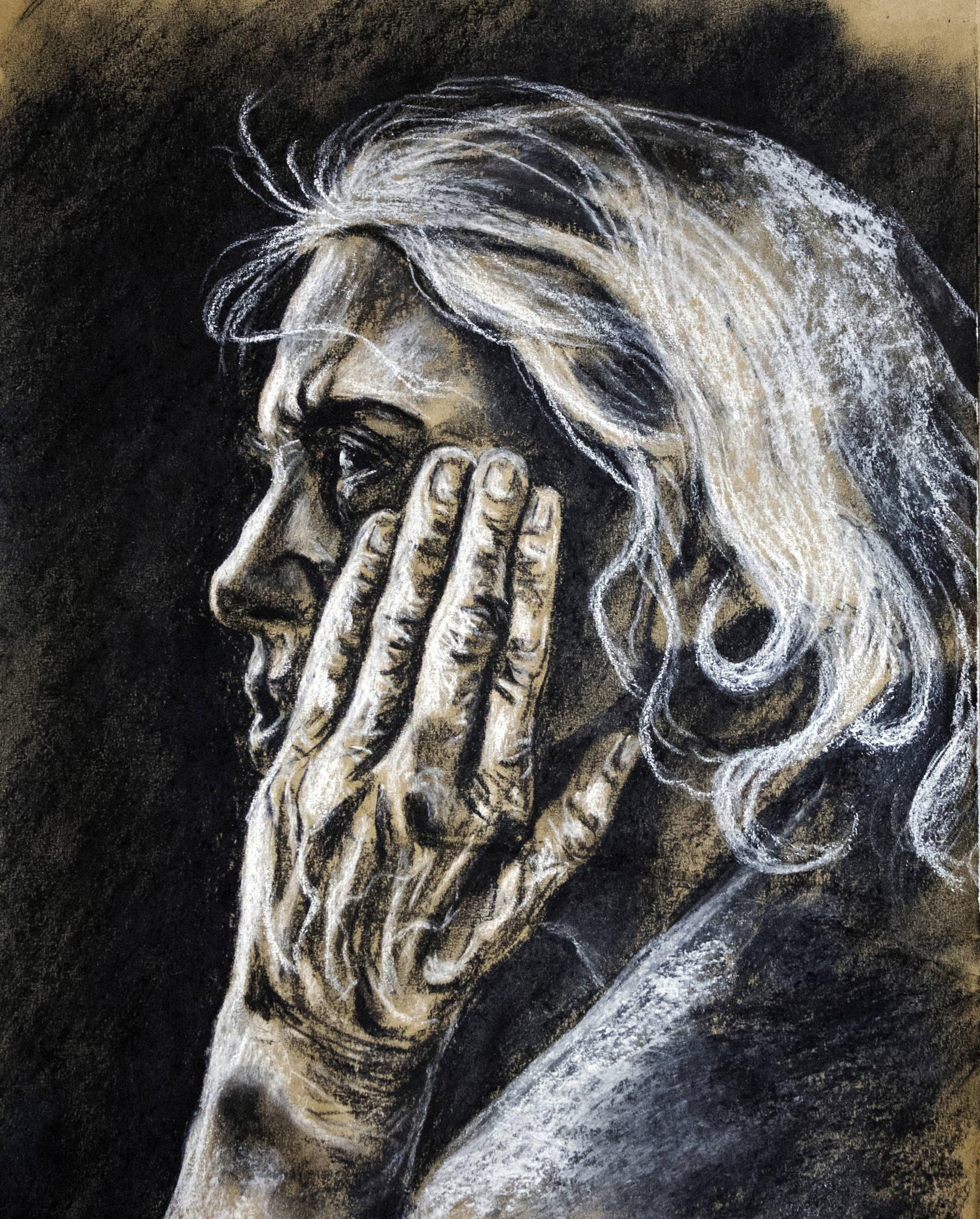 Старуха. Крафт, пастель, 25х35, 2013
